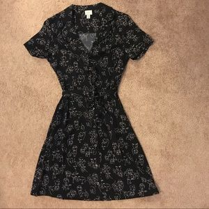 NWOT Button Down Short Sleeve Dress w/ Faces